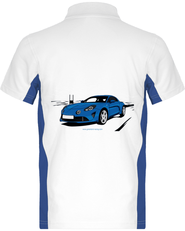 Polo Bicolore Alpine A110 pure Blanc et bleu - White / Royal Blue - Dos