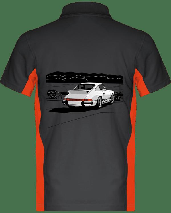 Polo Porche 911 3,0 Carrera blanche bord de mer - Dark Grey / Orange - Dos
