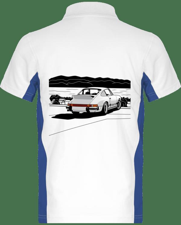 Polo Porche 911 3,0 Carrera blanche bord de mer - White / Royal Blue - Dos