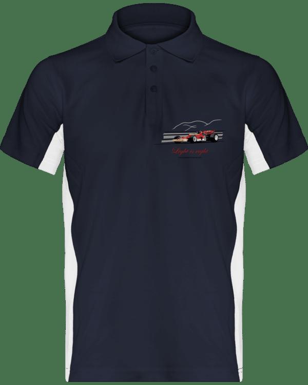 Polo Formule 1 Lotus 72 rouge et or de 1970 Jochen Rindt Light is right - Navy / White - Face