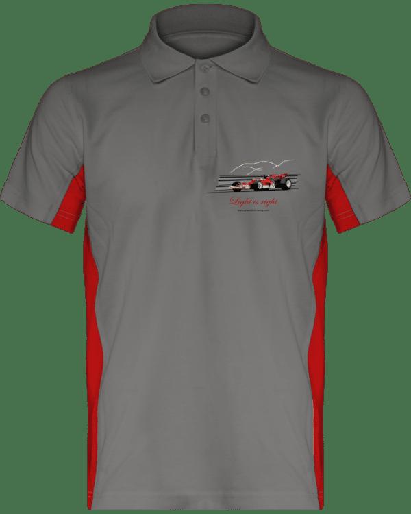 Polo Formule 1 Lotus 72 rouge et or de 1970 Jochen Rindt Light is right - Light Grey / Red - Face