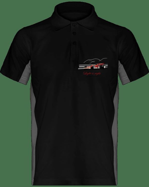 Polo Formule 1 Lotus 72 rouge et or de 1970 Jochen Rindt Light is right - Black / Slate Grey - Face