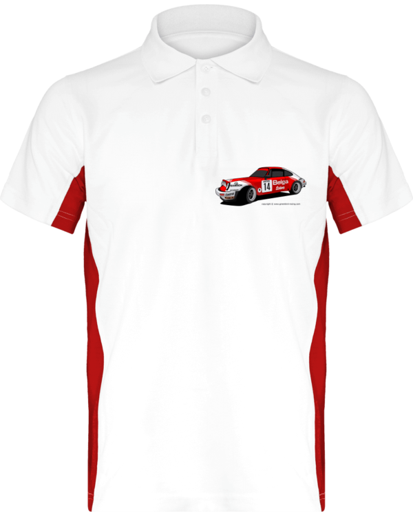 Polo Porsche 911 RSR Belga Team rallye VHC - White / Red - Face