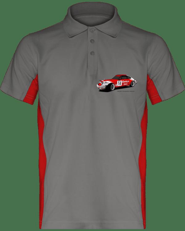 Polo Porsche 911 RSR Belga Team rallye VHC - Light Grey / Red - Face