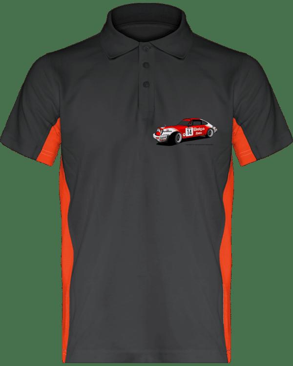 Polo Porsche 911 RSR Belga Team rallye VHC - Dark Grey / Orange - Face