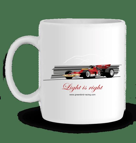 Mug Formule 1 Lotus 72 de 1970 rouge et or Jochen Rindt en Céramique - BLANC - Profil gauche