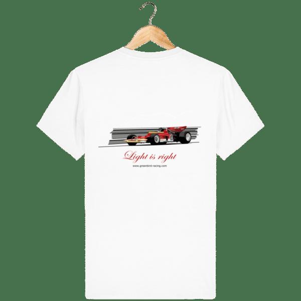 T-shirt Formule 1 1970 Lotus 72 Jochen Rindt Light is right - White - Dos