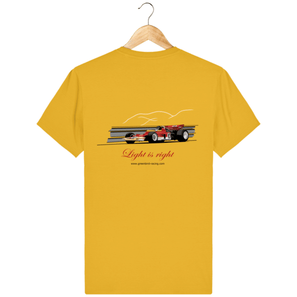 T-shirt Formule 1 1970 Lotus 72 Jochen Rindt Light is right - Spectra Yellow - Dos