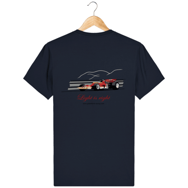 T-shirt Formule 1 1970 Lotus 72 Jochen Rindt Light is right - French Navy - Dos