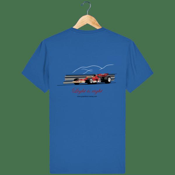 T-shirt Formule 1 1970 Lotus 72 Jochen Rindt Light is right - Royal Blue - Dos