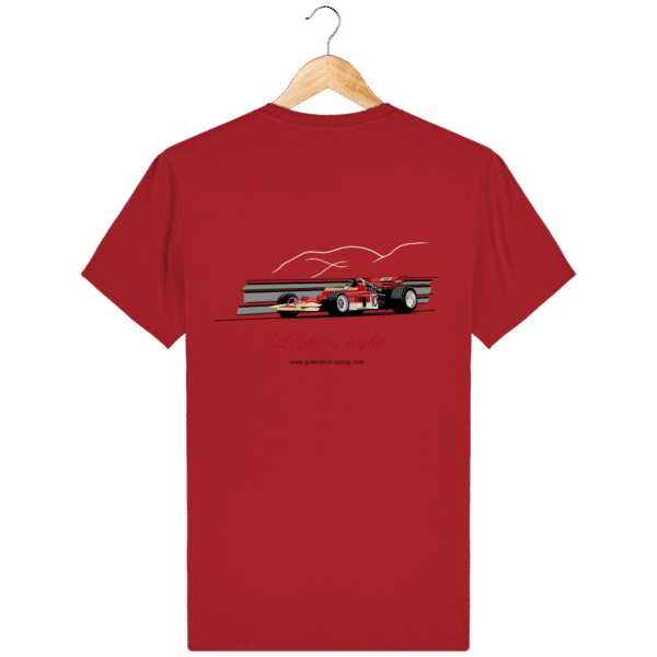 T-shirt Formule 1 1970 Lotus 72 Jochen Rindt Light is right - Red - Dos