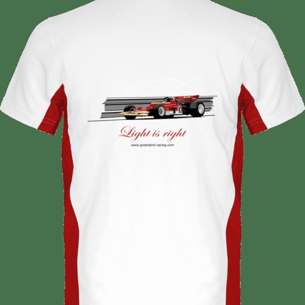 Polo Formule 1 Lotus 72 rouge et or de 1970 Jochen Rindt Light is right - White / Red - Dos
