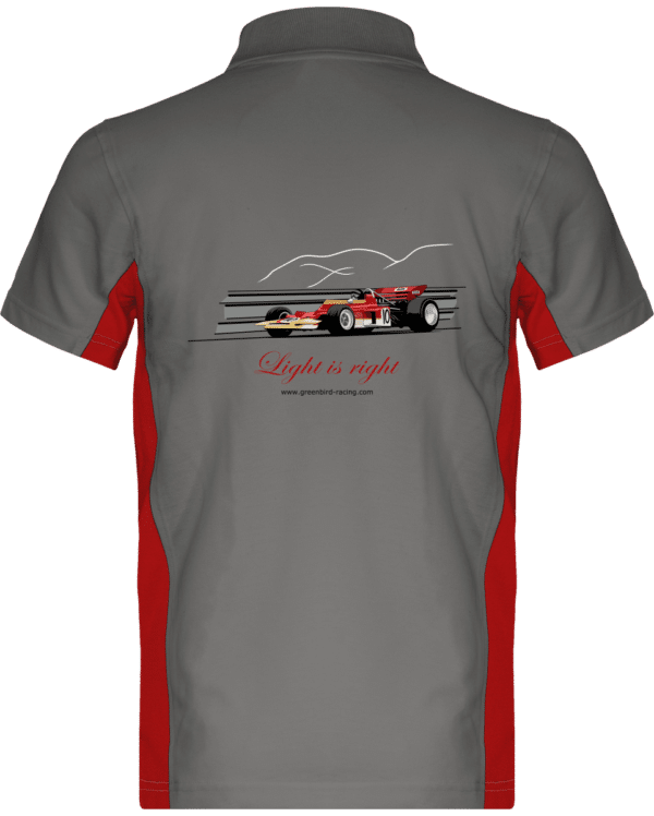 Polo Formule 1 Lotus 72 rouge et or de 1970 Jochen Rindt Light is right - Light Grey / Red - Dos