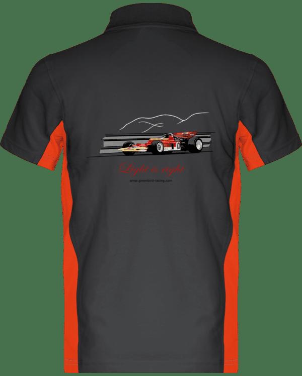 Polo Formule 1 Lotus 72 rouge et or de 1970 Jochen Rindt Light is right - Dark Grey / Orange - Dos