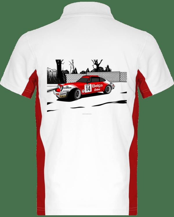 Polo Porsche 911 RSR Belga Team rallye VHC - White / Red - Dos