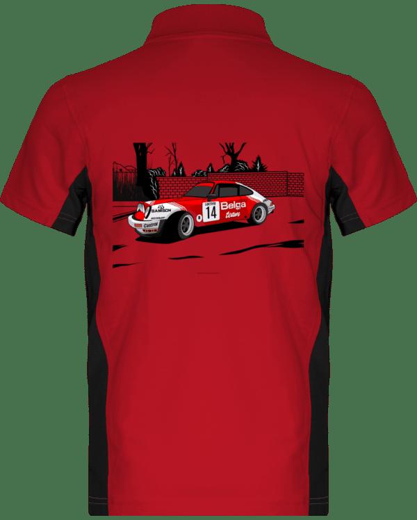 Polo Porsche 911 RSR Belga Team rallye VHC - Red / Black - Dos