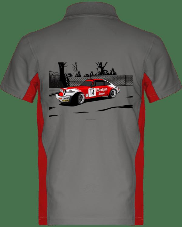 Polo Porsche 911 RSR Belga Team rallye VHC - Light Grey / Red - Dos
