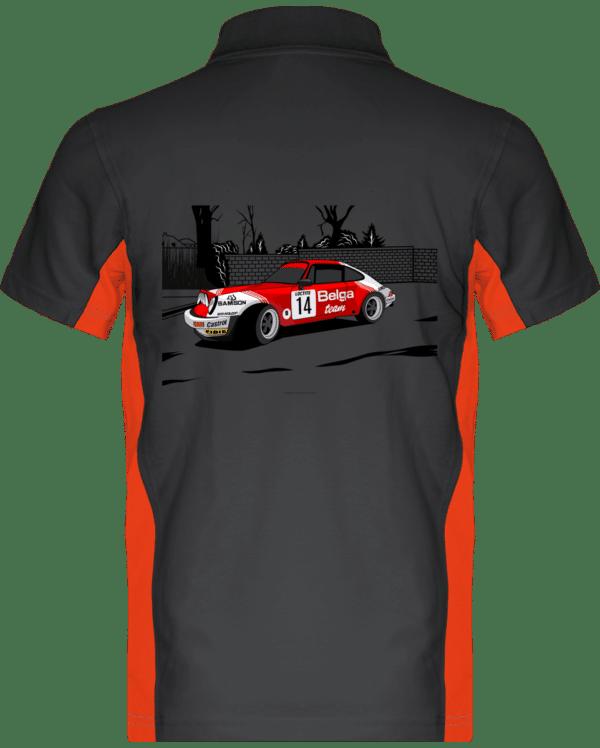 Polo Porsche 911 RSR Belga Team rallye VHC - Dark Grey / Orange - Dos