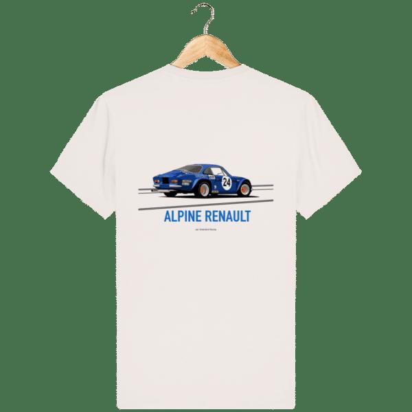 T-shirt Alpine A110 bleu – Dessin au Rallye Monte Carlo - Vintage White - Dos